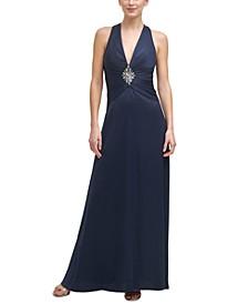 Embellished Cross-Back Gown