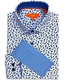 Men's Slim-Fit Performance Stretch Floral Print Dress Shirt and a Free Face Mask