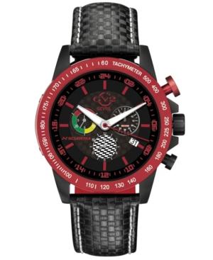 Men's Scuderia Swiss Quartz Chronograph Black Leather Strap Watch 45mm