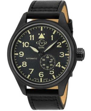 Men's Aeronautica Swiss Automatic Black Leather Strap Watch 42mm