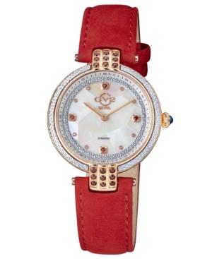Women's Matera Swiss Quartz Red Italian Suede Strap Watch 35mm