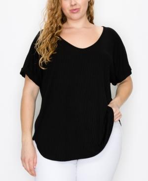 Plus Size Rib V-Neck Rolled Sleeve T-shirt