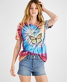 Juniors' Butterfly Tie-Dyed T-Shirt