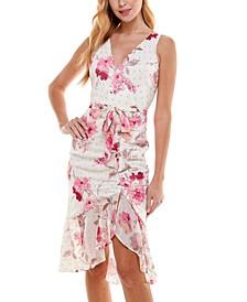 Juniors' Ruched Floral-Print Midi Dress