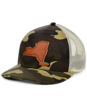 Local Crowns New York Woodland Leather State Patch Curved Trucker Cap