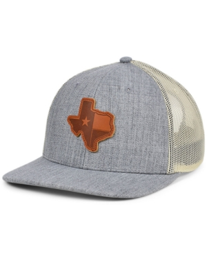 Local Crowns Texas Heather Leather State Patch Curved Trucker Cap