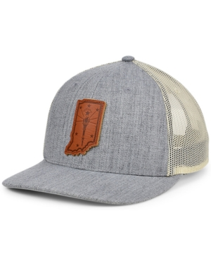 Local Crowns Indiana Heather Leather State Patch Curved Trucker Cap