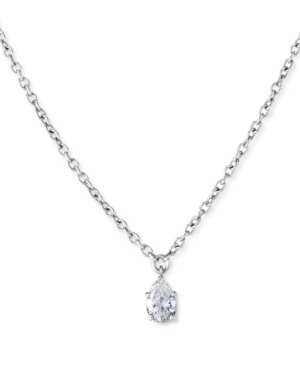 Lab-Created Diamond Solitaire Pendant (1/4 ct. t.w.) in Sterling Silver.