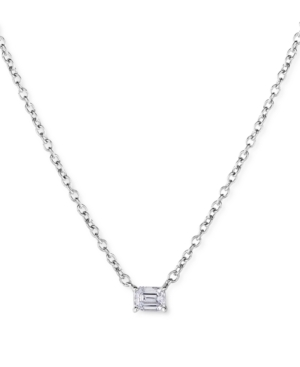 Lab-Created Diamond Emerald-Cut Solitaire Pendant Necklace (1/4 ct. t.w.) in Sterling Silver
