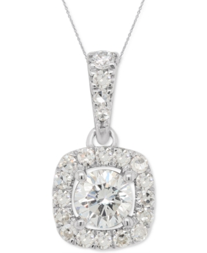Lab-Created Diamond Halo Pendant Necklace (1/3 ct. t.w.) in Sterling Silver