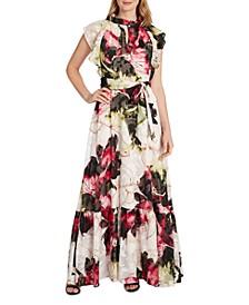 Floral-Print Keyhole-Neck Gown