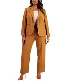 Plus Size Tonal Stripe Zip-Pocket Pantsuit