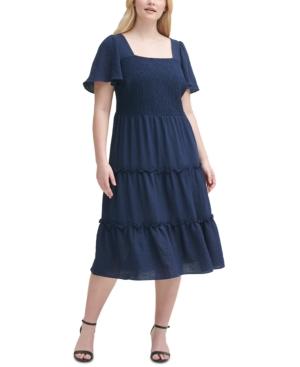 Plus Size Smocked Tiered Dress