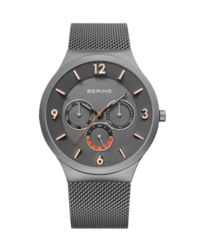 Men's Classic Gray Stainless Steel Mesh Strap Watch 40mm
