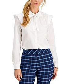 Petite Cotton Tie-Neck Ruffled-Shoulder Blouse, Created for Macy's