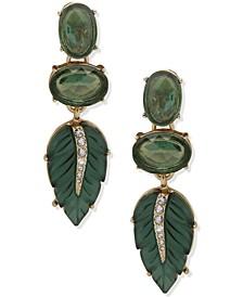 Gold-Tone Green Stone & Pavé Leaf Clip-On Linear Drop Earrings