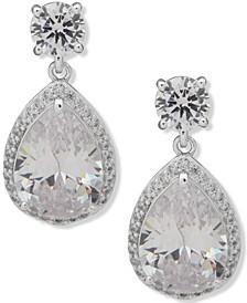 Silver-Tone Pear-Shape Crystal Halo Drop Earrings