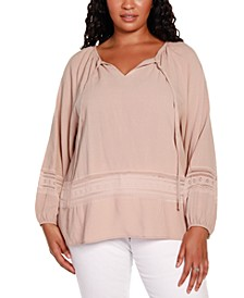 Black Label Plus Size Long Sleeve Top with Ties at Front Neck