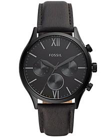 Men's Fenmore Multifunction Black Leather Watch 44mm