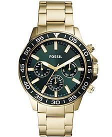 Men's Bannon Multifunction Gold-Tone Stainless Steel Bracelet Watch 45mm