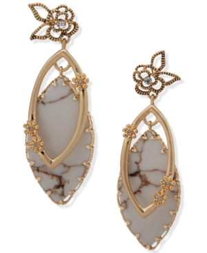 Gold-Tone Pave & Stone Open Flower Drop Earrings