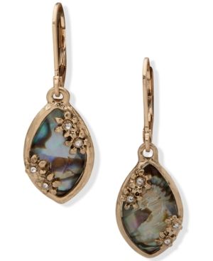Gold-Tone Pave & Stone Drop Earrings
