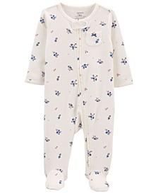 Baby Girls Floral 2-Way Zip Cotton Sleep Play