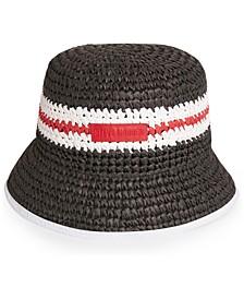Crochet Straw Striped Bucket Hat