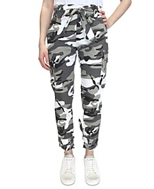Crave Fame Camo-Print Belted Tie-Cuff Cargo Jogger Pants