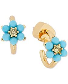 "Gold-Tone Small Pavé & Turquoise-Look Bead Forget-Me-Not Huggie Hoop Earrings, 0.5"""