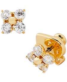 Gold-Tone Cubic Zirconia Forget-Me-Not Flower Stud Earrings