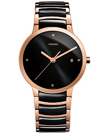 Rado Men's Swiss Centrix Diamond Accent Black Ceramic and Rose Gold-Tone PVD Stainless Steel Bracelet Watch 38mm R30554712