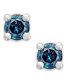 10k White Gold Blue Diamond (1/10 ct. t.w.) Round Stud Earrings