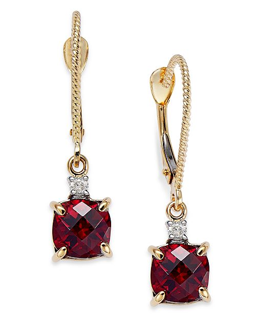 Macy's 14k Gold Garnet (2-3/8 ct. t.w.) and Diamond Accent Drop Earrings