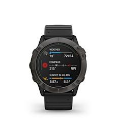 Unisex Fenix 6X Pro Solar Titanium Black Leather Strap Smart Watch 35.56mm