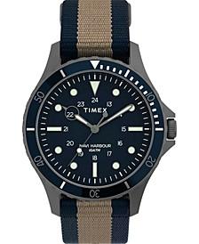 Men's Navi Xl Tan and Blue Fabric Strap Watch 41mm