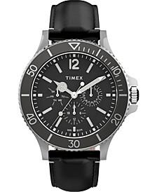 Men's Harborside Black Leather Strap Watch 43mm