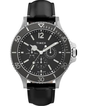 TIMEX MEN'S HARBORSIDE BLACK LEATHER STRAP WATCH 43MM