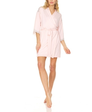 Women's Mid Thigh Length Elegant Robe with Lace Trim Detail