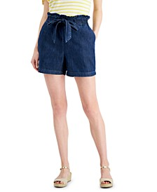 Petite Tie-Front Denim Shorts, Created for Macy's