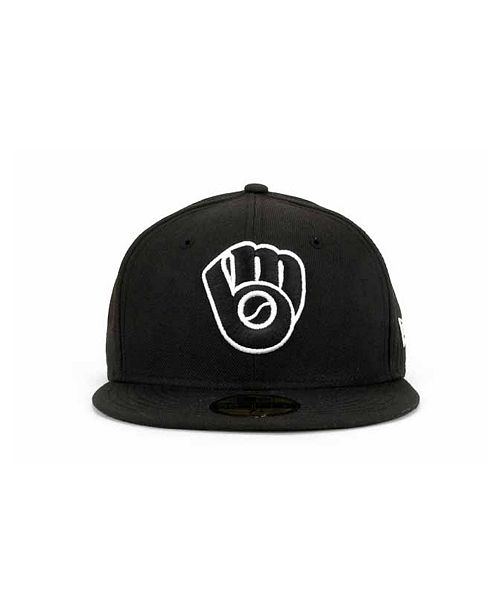 f98f17d0452 ... New Era Milwaukee Brewers MLB Black and White Fashion 59FIFTY Cap ...