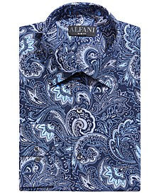 Men's Slim-Fit Wrinkle-Resistant Performance Stretch Paisley Dress Shirt, Created for Macy's