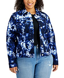 Plus Size Tie-Dyed Denim Jacket, Created for Macy's