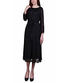 Women's 3/4 Sleeve Belted Swiss Dot Dress