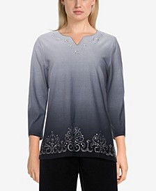 Plus Size Easy Living Ombre Scroll Border Top