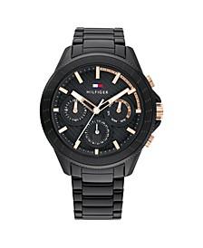 Men's Black Stainless Steel Bracelet Watch 44mm