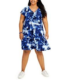 Plus Size Flounce-Hem Dress, Created for Macy's
