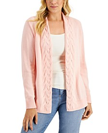 Cotton Cable-Knit Trim Open Cardigan, Created for Macy's