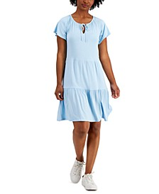 Tiered-Skirt Tie-Neck Dress, Created for Macy's