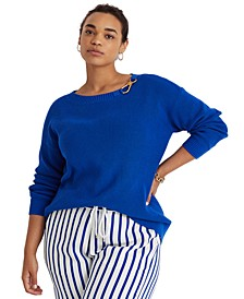 Plus-Size Combed Cotton Sweater